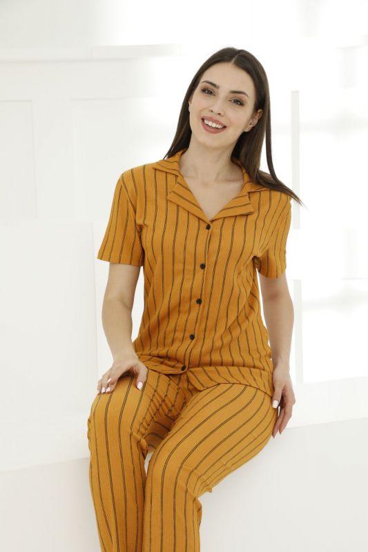 SIYAH INCI - Likralı Düğmeli Pijama Takım 21156579