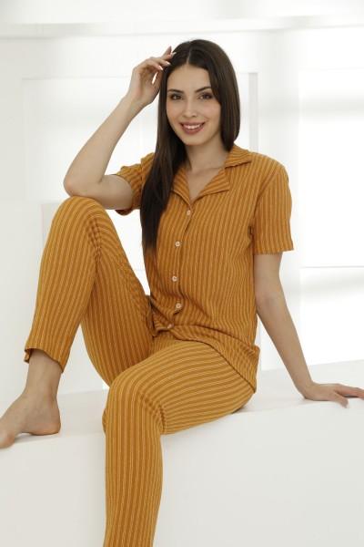 SIYAH INCI - Likralı Düğmeli Pijama Takım 21156593