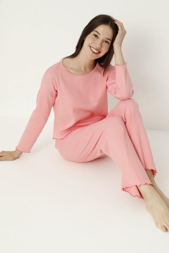 SİYAH İNCİ - Likralı Kaşkorse Pijama Takım 21260474