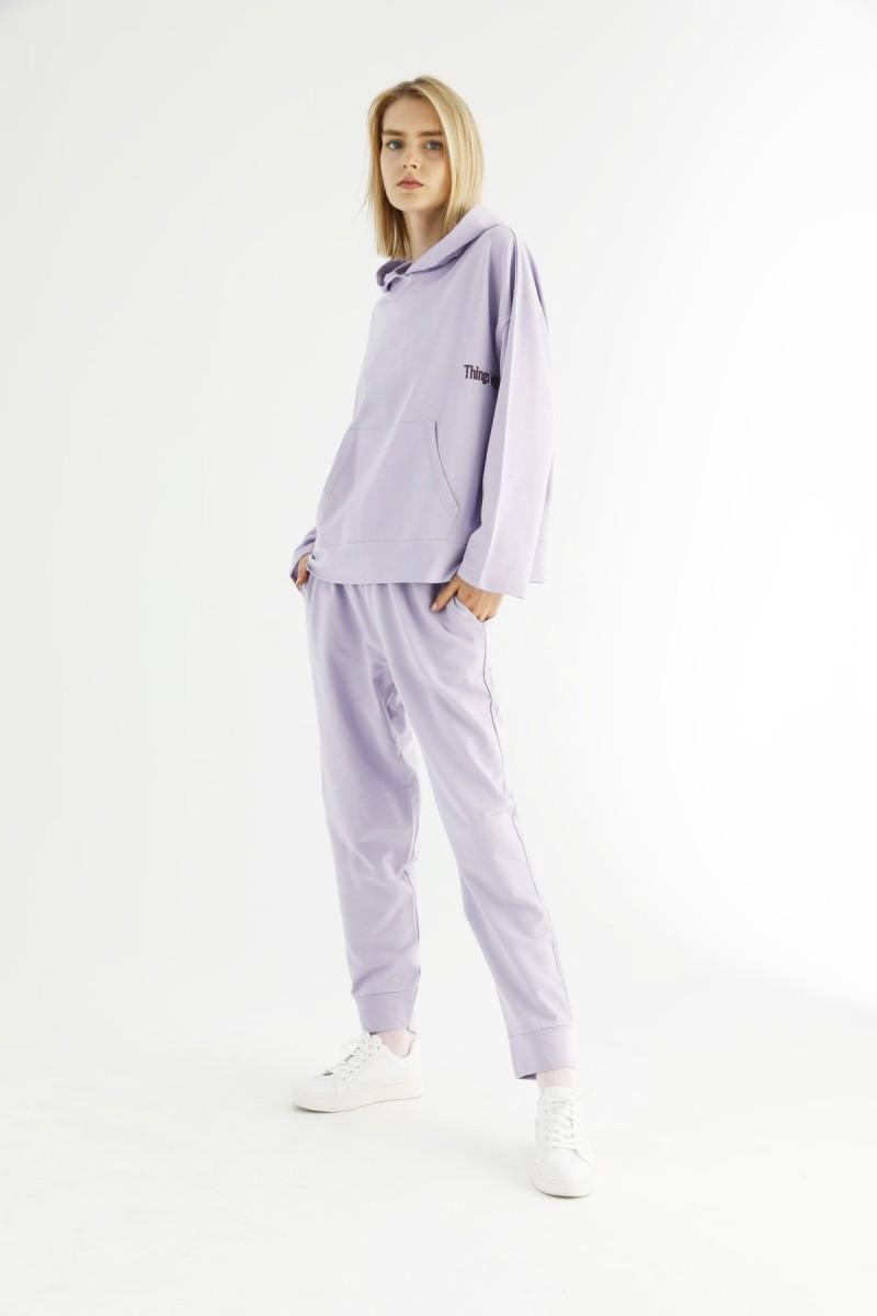 SİYAH İNCİ - Lila Kangru Cepli Kapişonlu Eşofman-Sweatshirt Takım 21278035
