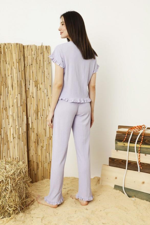 SİYAH İNCİ - Lila Krinkıl Kumaş Nakışlı Likralı Pijama Takım