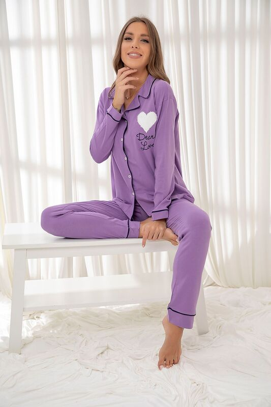 SİYAH İNCİ - Lila Pamuklu Likrali Düğmeli Biyeli Pijama Takım