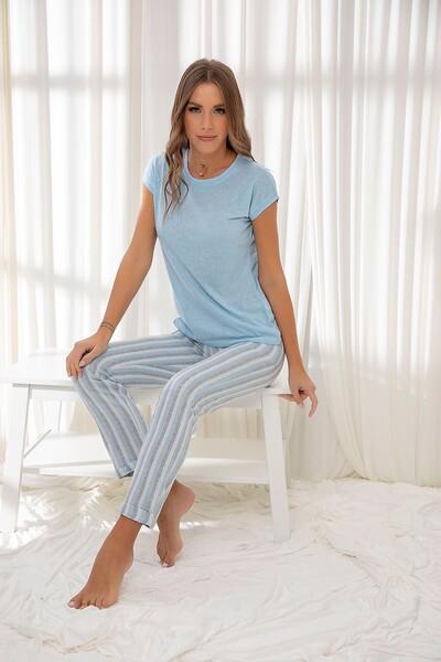 Mavi Pamuklu Dokuma Pijama Takım - Thumbnail