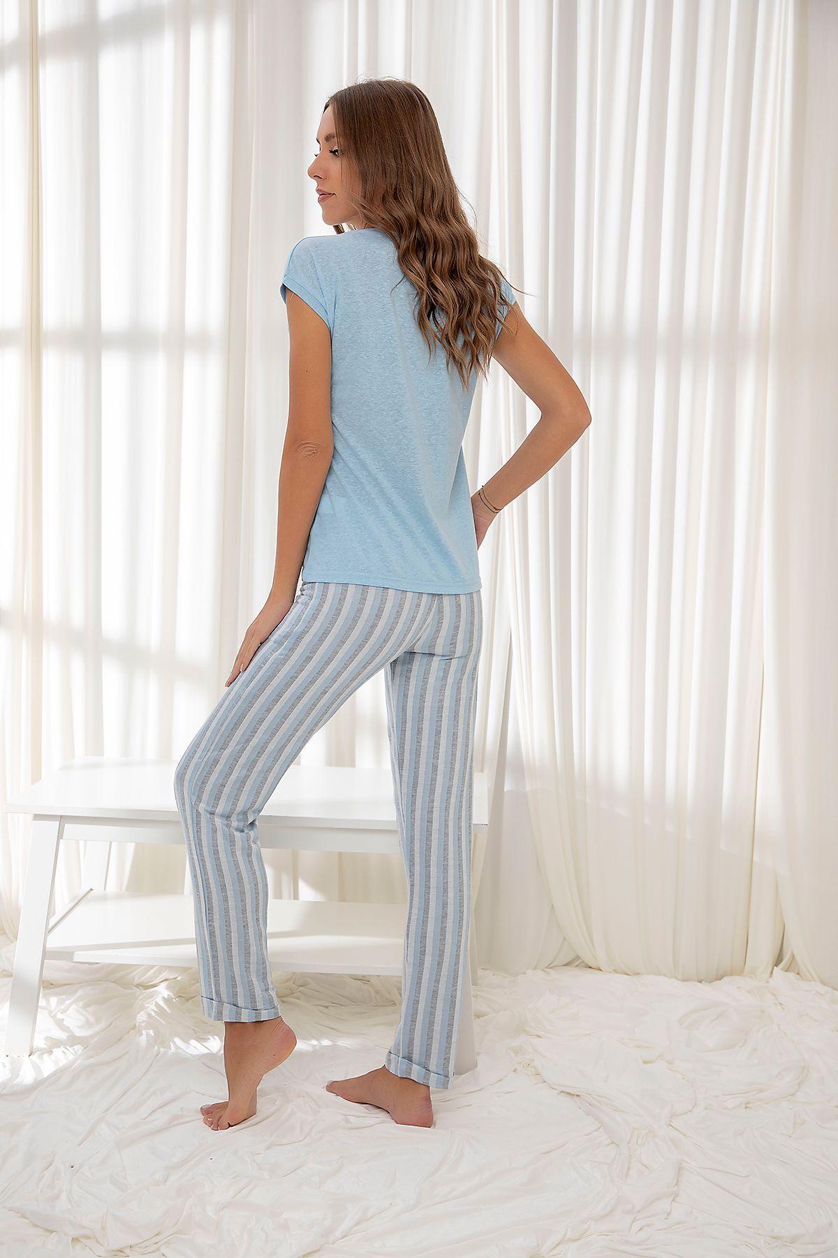 Mavi Pamuklu Dokuma Pijama Takım