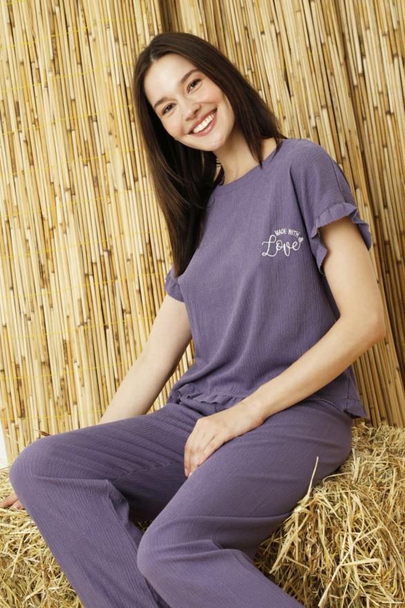 SİYAH İNCİ - Mor Krinkıl Kumaş Nakışlı Likralı Pijama Takım
