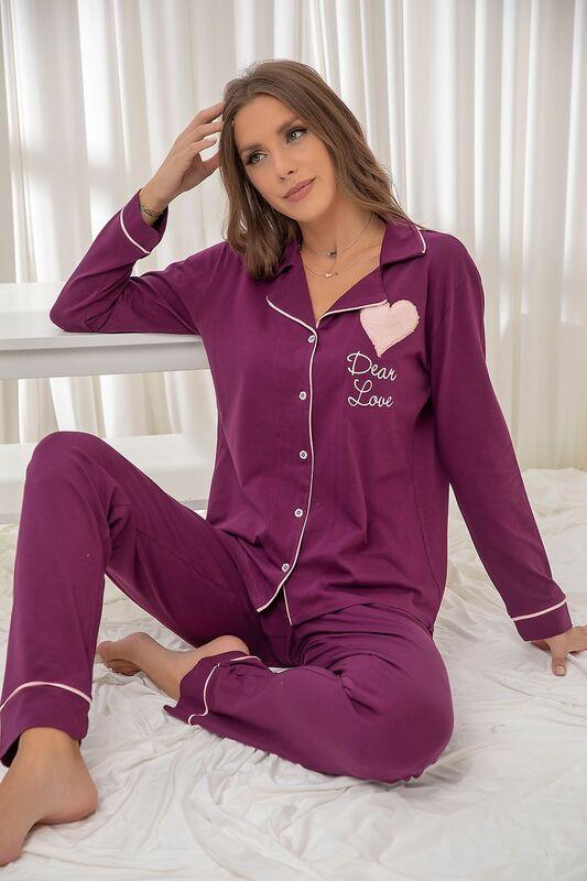 SİYAH İNCİ - Mor Pamuklu Likrali Biyeli Düğmeli Nakışlı Pijama Takım