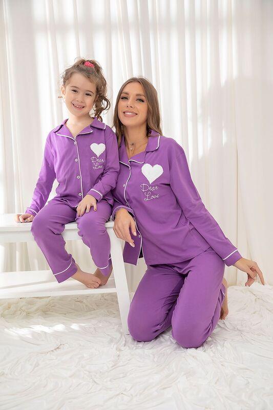 SİYAH İNCİ - Mor Pamuklu Likrali Düğmeli Biyeli Pijama Takım