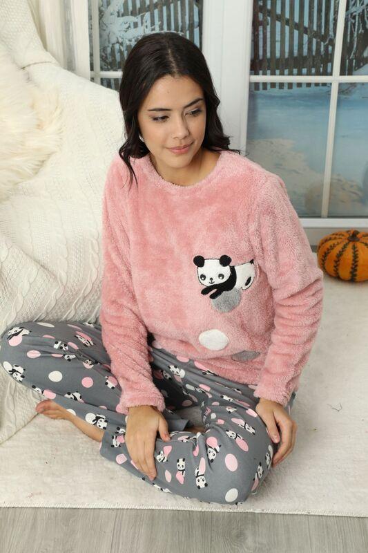 SİYAH İNCİ - Nakışlı Alt İnterlok Üst Wellsoft Pijama Takımı
