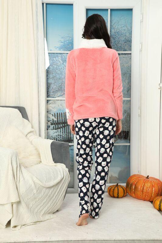 Nakışlı Alt İnterlok Üst Wellsoft Pijama Takımı