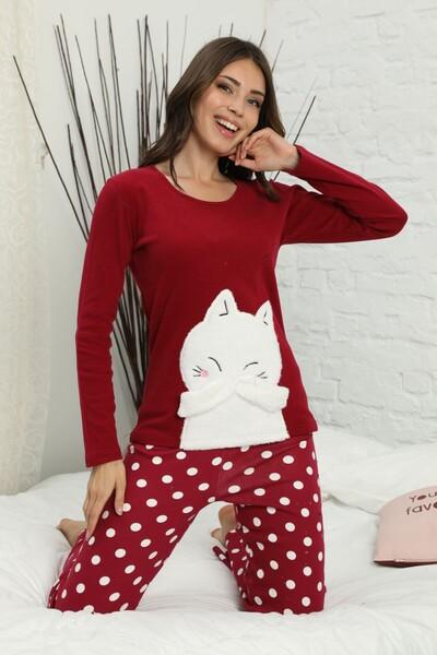 SIYAH INCI - Nakışlı Arkası Detaylı İnterlok Pijama Takımı