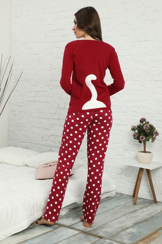 Nakışlı Arkası Detaylı İnterlok Pijama Takımı
