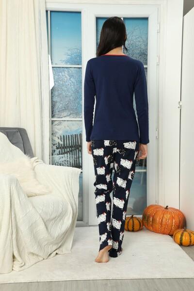 SIYAH İNCİ - Nakışlı Düğmeli Alt Wellsoft Üst İnterlok Pijama Takımı