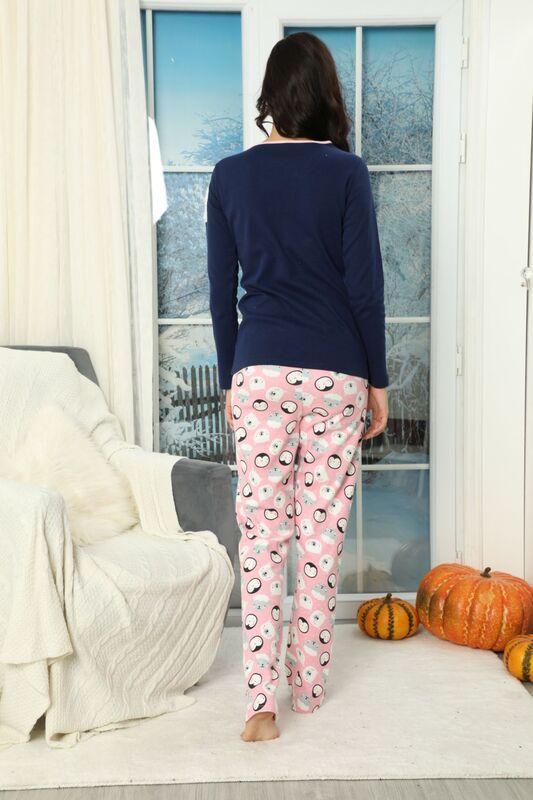 Nakışlı Düğmeli İnterlok Pijama Takımı