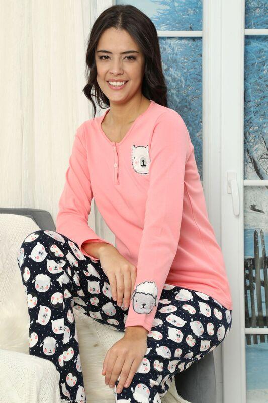 SIYAH INCI - Nakışlı Düğmeli İnterlok Pijama Takımı