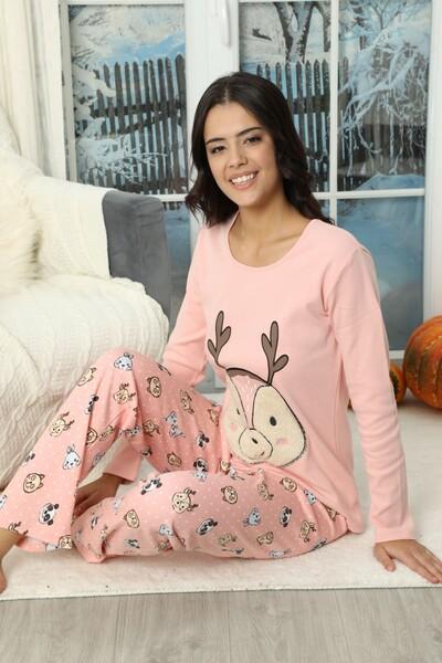 SİYAH İNCİ - Nakışlı İnterlok Pijama Takımı