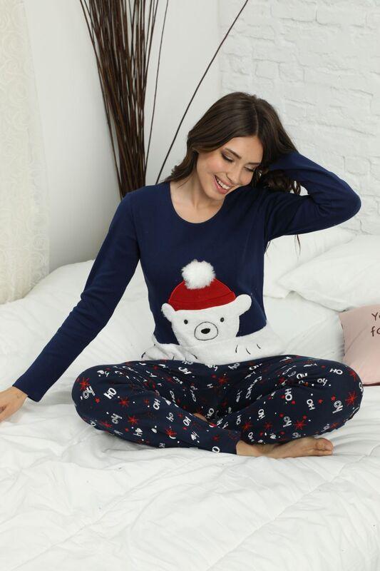 SIYAH INCI - Nakışlı İnterlok Pijama Takımı