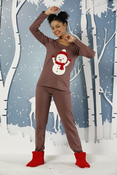 Nakışlı İnterlok Pijama Takımı - Thumbnail