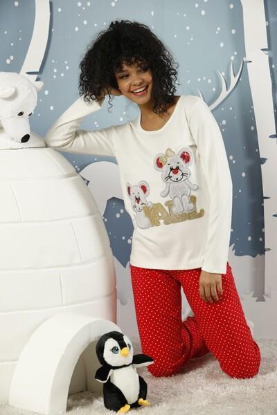 SIYAH İNCİ - Nakışlı İnterlok Pijama Takımı