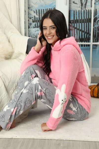 SIYAH İNCİ - Nakışlı Kapişonlu Alt İnterlok Üst Wellsoft Pijama Takımı