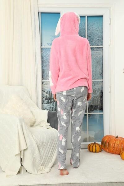 Nakışlı Kapişonlu Alt İnterlok Üst Wellsoft Pijama Takımı - Thumbnail
