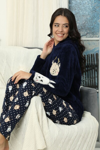 SİYAH İNCİ - Nakışlı Kapişonlu Alt İnterlok Üst Wellsoft Pijama Takımı