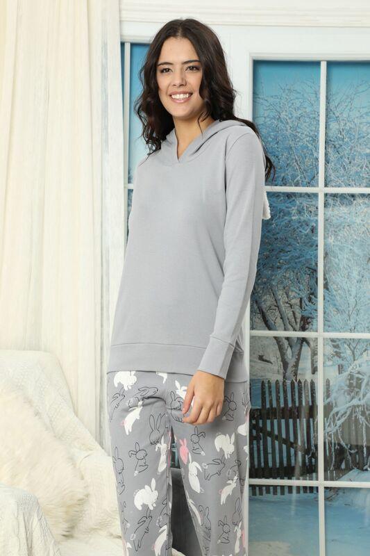 Nakışlı Kapişonlu İnterlok Pijama Takımı
