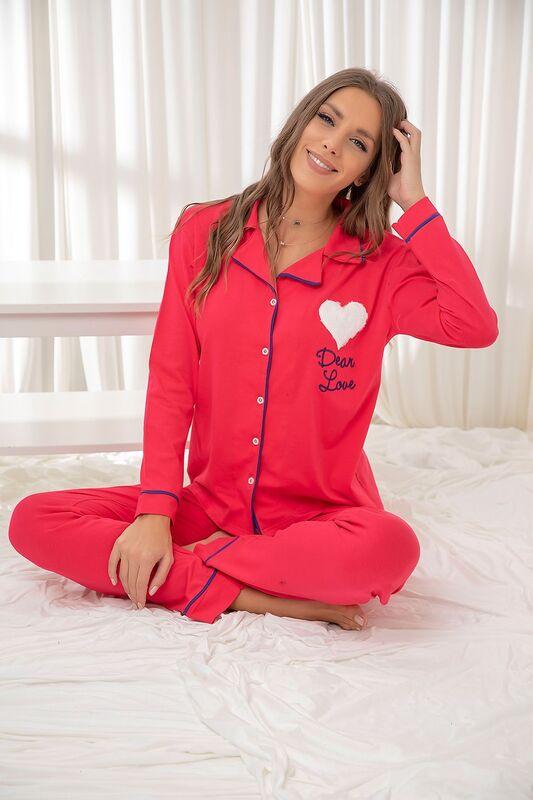 SİYAH İNCİ - Narçiçeği Pamuklu Likrali Düğmeli Biyeli Pijama Takım