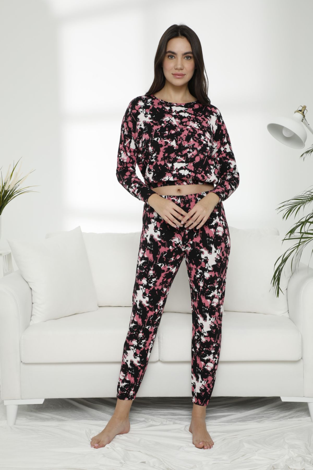 Pamuklu Likralı Batik Desen Pijama Takım 7475 - Thumbnail