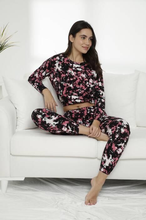 Pamuklu Likralı Batik Desen Pijama Takım 7475