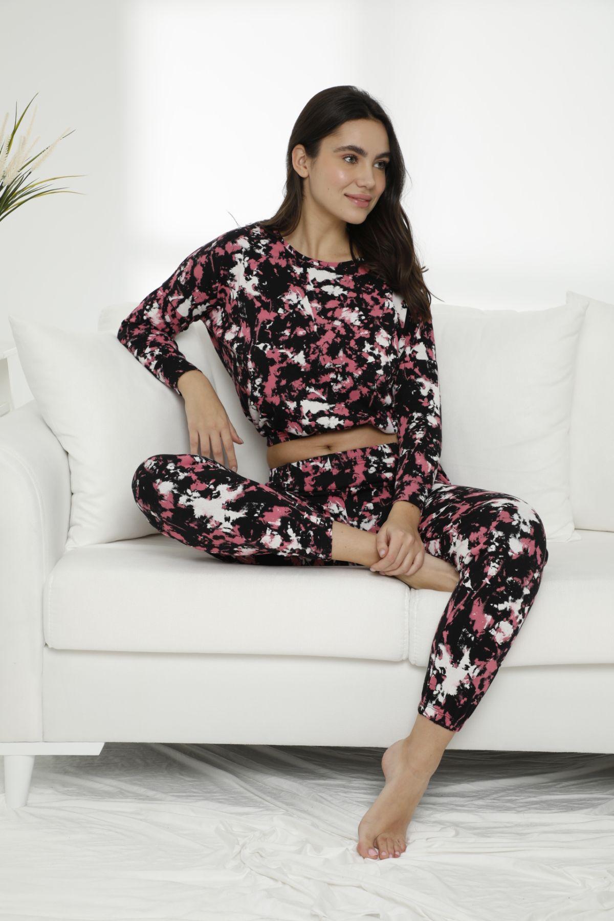 SIYAH INCI - Pamuklu Likralı Batik Desen Pijama Takım 7475