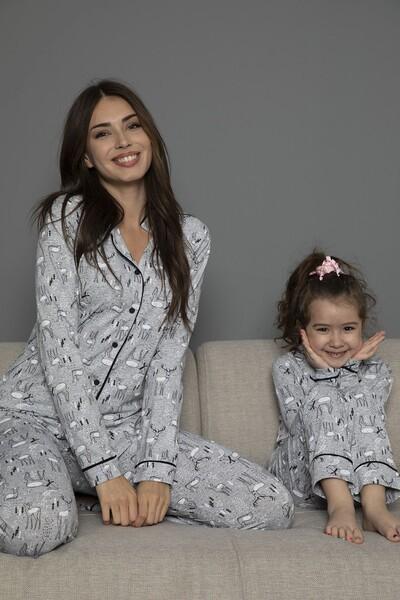 Pamuklu Likrali Biyeli Düğmeli Pijama Takım - Thumbnail
