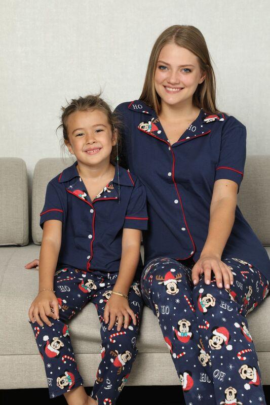 SIYAH İNCİ - Pamuklu Likrali Biyeli Düğmeli Pijama Takım