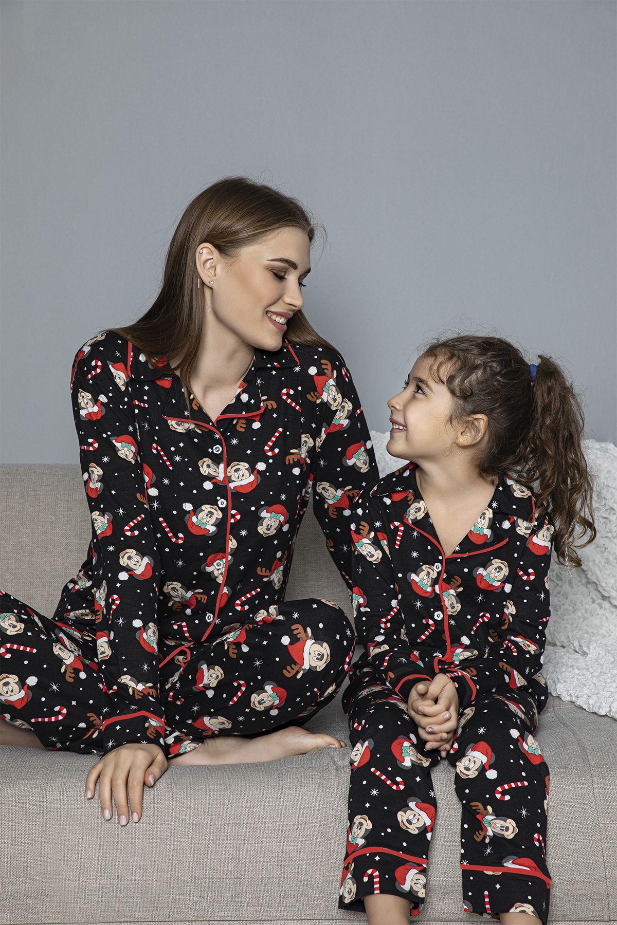 Pamuklu Likrali Biyeli Düğmeli Pijama Takım