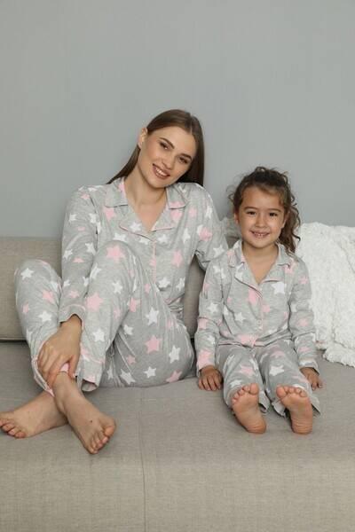 SİYAH İNCİ - Pamuklu Likrali Biyeli Düğmeli Pijama Takım (1)