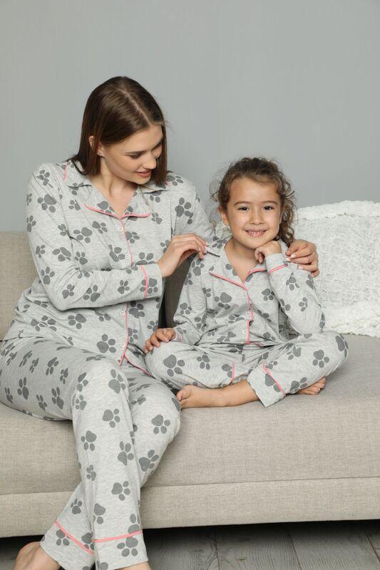 SİYAH İNCİ - Pamuklu Likrali Biyeli Düğmeli Pijama Takım