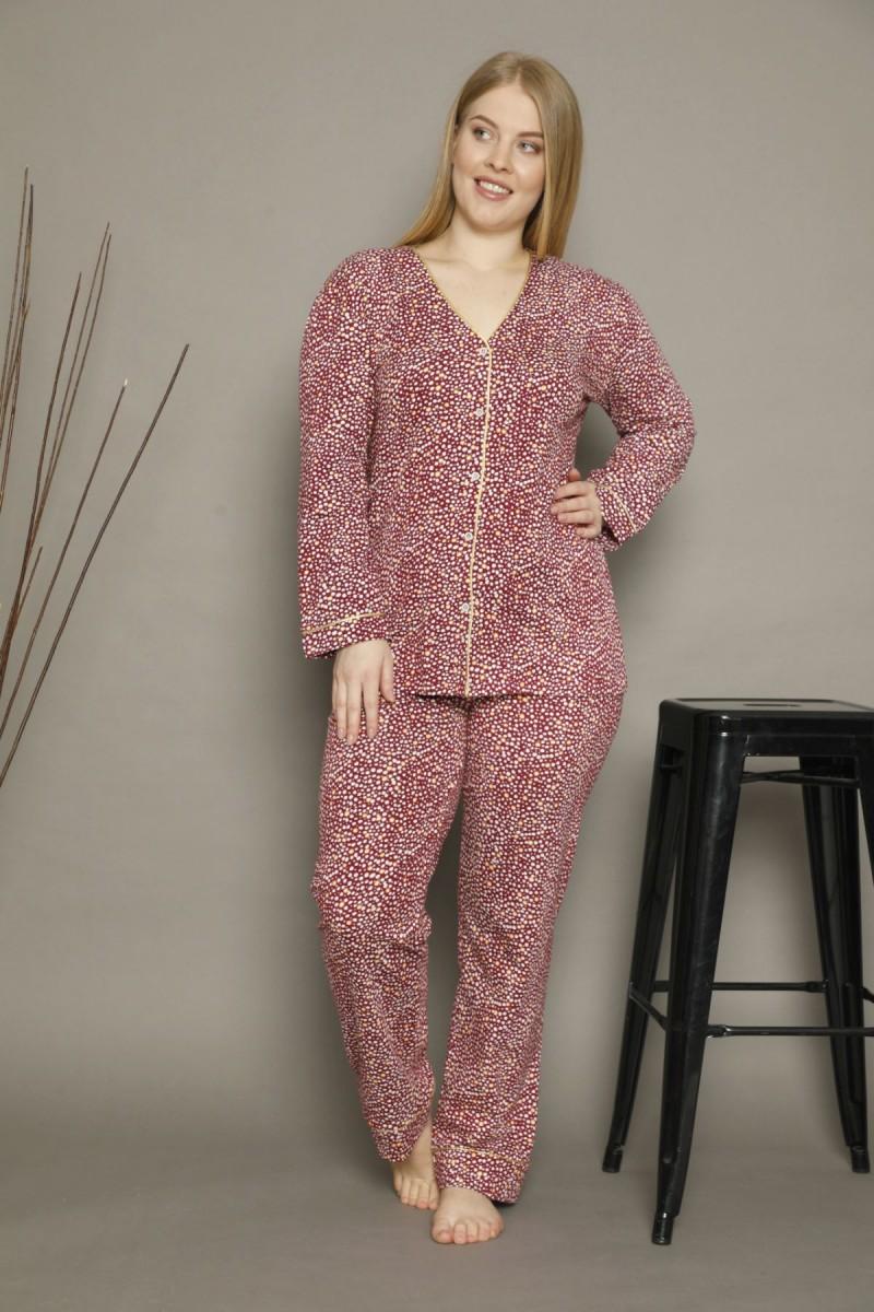 SİYAH İNCİ - Pamuklu Likralı Büyük Beden Battal Düğmeli Biyeli Pijama Takım 21275004