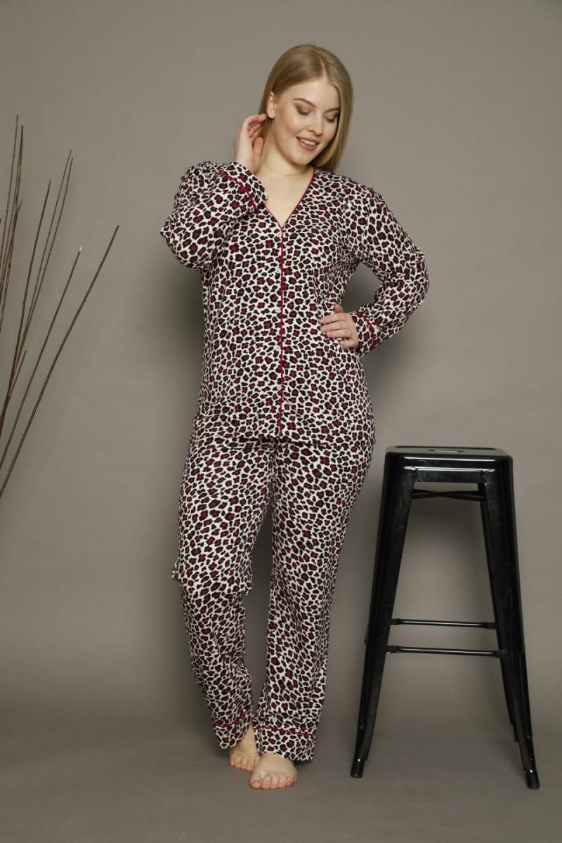 SİYAH İNCİ - Pamuklu Likralı Büyük Beden Battal Düğmeli Biyeli Pijama Takım 21275006