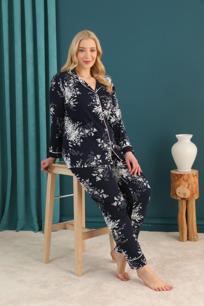 SİYAH İNCİ - Pamuklu Likralı Büyük Beden Battal Düğmeli Biyeli Pijama Takım 21275022