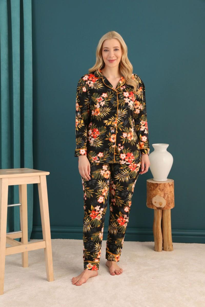 SİYAH İNCİ - Pamuklu Likralı Büyük Beden Battal Düğmeli Biyeli Pijama Takım 21275033