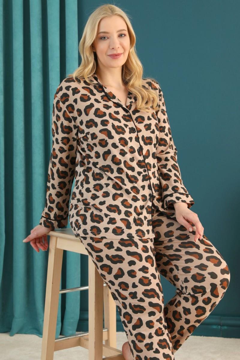 SİYAH İNCİ - Pamuklu Likralı Büyük Beden Battal Düğmeli Biyeli Pijama Takım 21275039