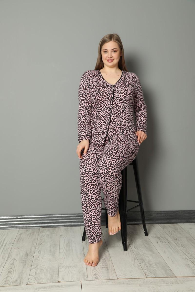 SİYAH İNCİ - Pamuklu Likralı Büyük Beden Battal Düğmeli Biyeli Pijama Takım 21275048