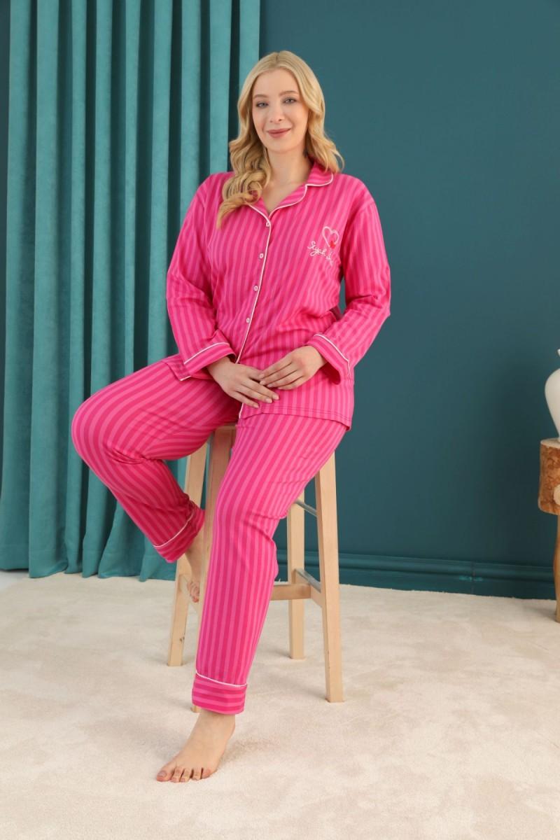 SİYAH İNCİ - Pamuklu Likralı Büyük Beden Battal Düğmeli Biyeli Pijama Takım 21275049