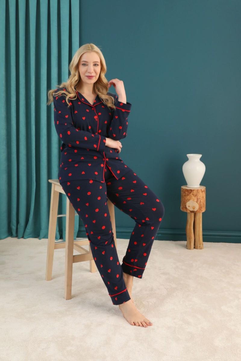 SİYAH İNCİ - Pamuklu Likralı Büyük Beden Battal Düğmeli Biyeli Pijama Takım 21275054