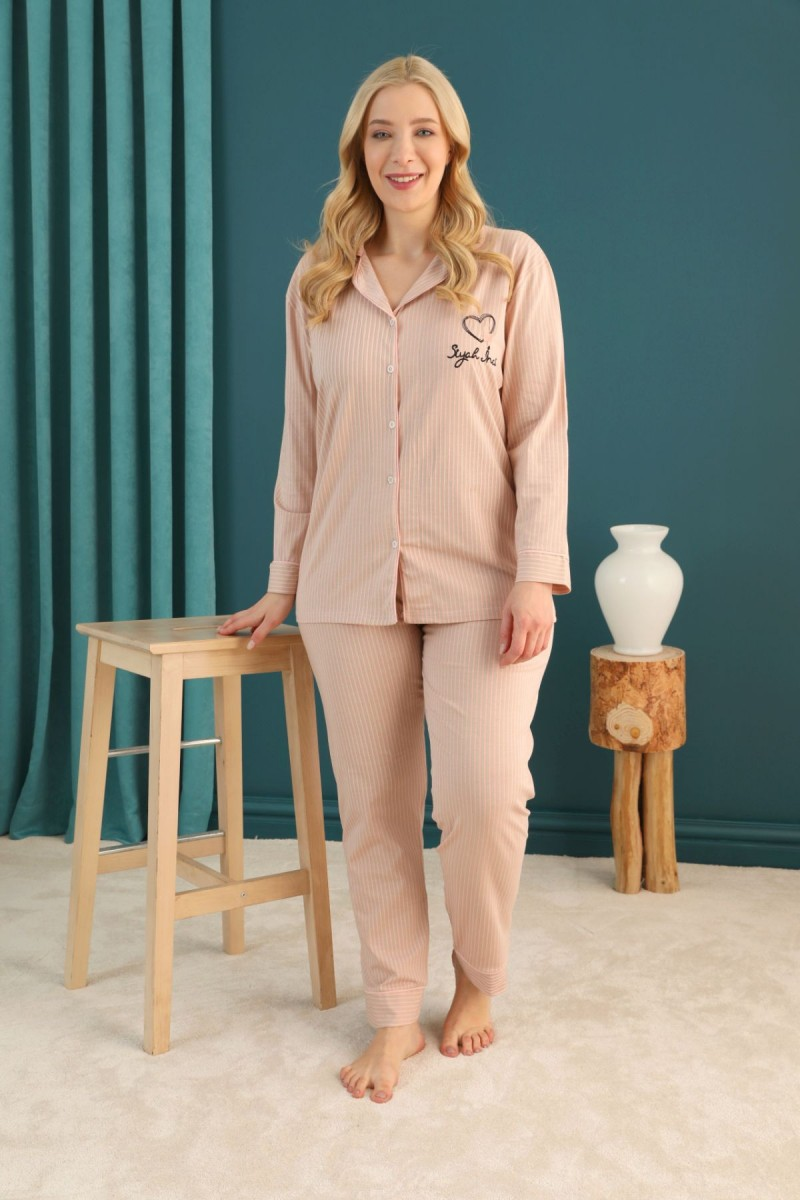 SİYAH İNCİ - Pamuklu Likralı Büyük Beden Battal Düğmeli Biyeli Pijama Takım 21275055