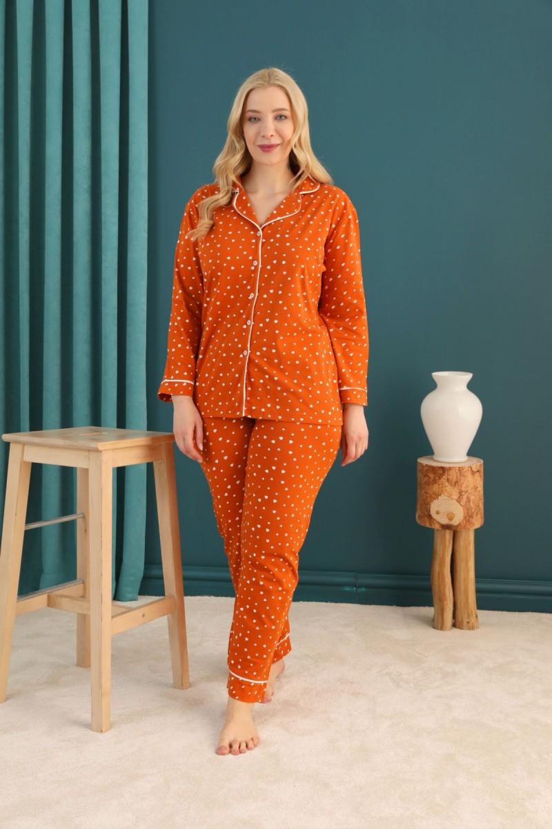SİYAH İNCİ - Pamuklu Likralı Büyük Beden Battal Düğmeli Biyeli Pijama Takım 21275056