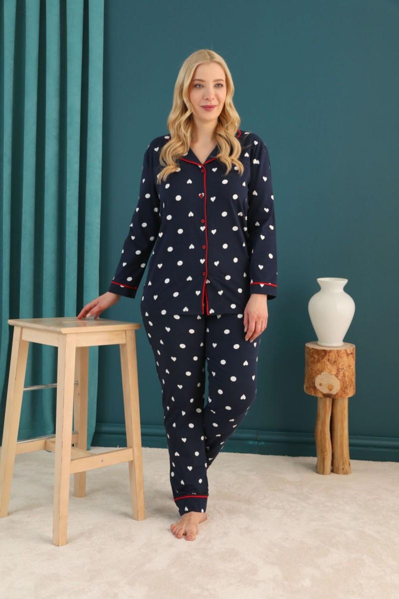 SİYAH İNCİ - Pamuklu Likralı Büyük Beden Battal Düğmeli Biyeli Pijama Takım 21275060