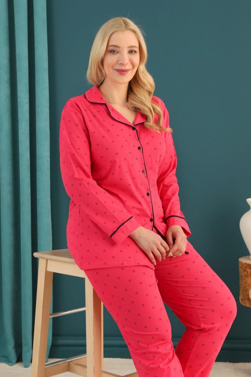 SİYAH İNCİ - Pamuklu Likralı Büyük Beden Battal Düğmeli Biyeli Pijama Takım 21275061