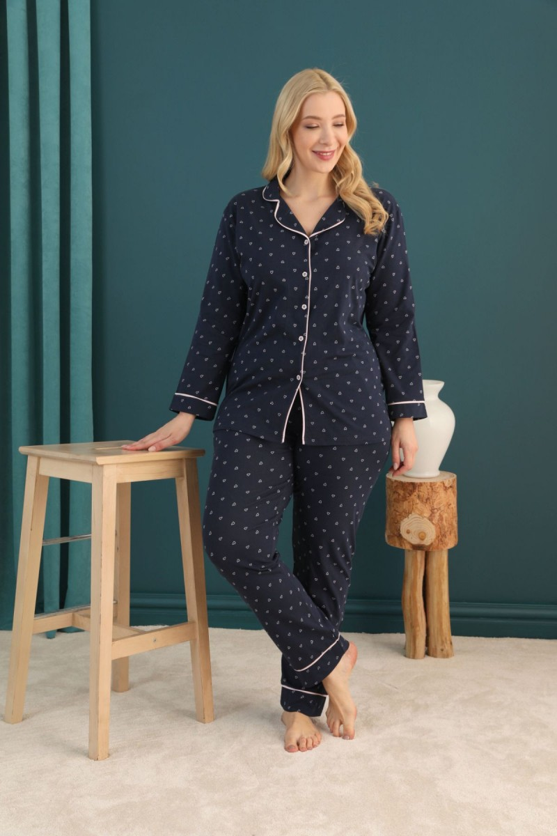 SİYAH İNCİ - Pamuklu Likralı Büyük Beden Battal Düğmeli Biyeli Pijama Takım 21275063