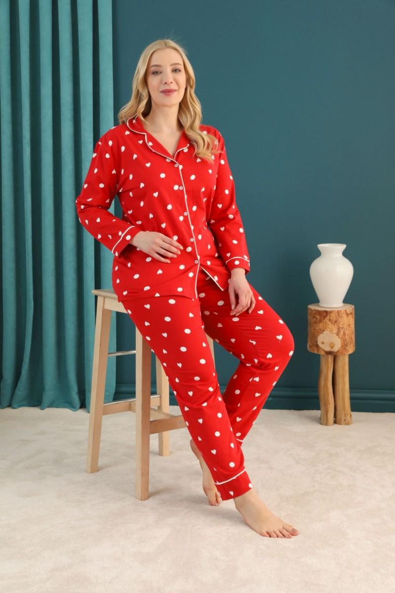 SİYAH İNCİ - Pamuklu Likralı Büyük Beden Battal Düğmeli Biyeli Pijama Takım 21275065