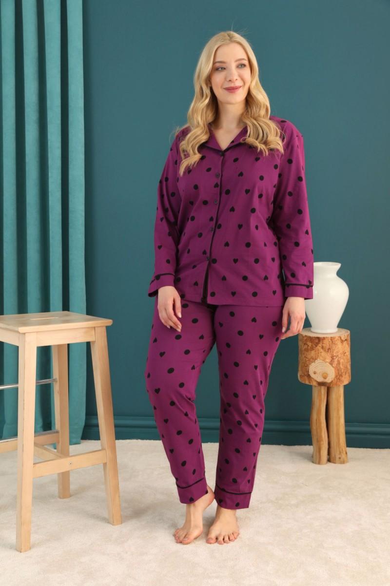 SİYAH İNCİ - Pamuklu Likralı Büyük Beden Battal Düğmeli Biyeli Pijama Takım 21275068